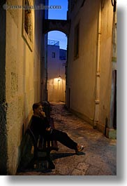 dusk, europe, italy, otranto, people, puglia, sitting, vertical, womens, photograph