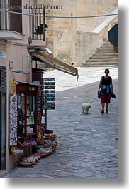 dogs, europe, italy, otranto, people, puglia, vertical, walking, womens, photograph