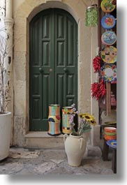 colorful, doors, europe, gifts, green, italy, otranto, puglia, stores, vertical, photograph