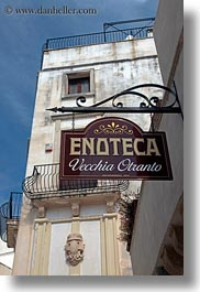 europe, italy, otranto, puglia, signs, stores, vertical, wines, photograph