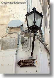 europe, italy, lamp posts, otranto, puglia, signs, street lamps, vertical, photograph