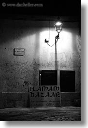 black and white, dusk, europe, italy, otranto, puglia, street lamps, vertical, photograph