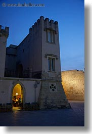 arches, doors, dusk, europe, gothic, italy, otranto, puglia, towns, vertical, photograph