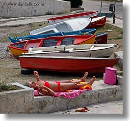 boats, colorful, europe, italy, porticciolo, puglia, square format, sunbathing, womens, photograph