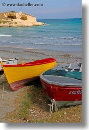 beaches, boats, europe, italy, porticciolo, puglia, vertical, yellow, photograph