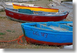 beaches, blues, boats, europe, horizontal, italy, porticciolo, puglia, red, yellow, photograph