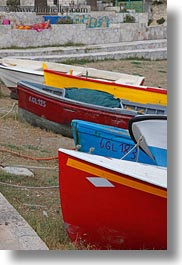 beaches, blues, boats, europe, italy, porticciolo, puglia, red, vertical, yellow, photograph