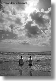 beaches, black and white, chairs, clouds, coast, europe, italy, porticciolo, puglia, two, vertical, womens, photograph