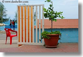 colorful, colors, europe, gates, horizontal, italy, plants, porticciolo, puglia, red, photograph