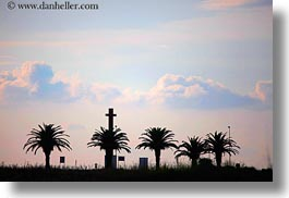 crosses, europe, horizontal, italy, nature, palm trees, puglia, seaside, silhouettes, sky, sun, sunsets, photograph