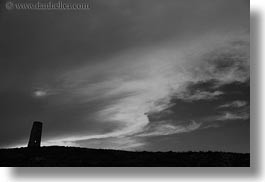 black and white, clouds, europe, horizontal, italy, puglia, seaside, silhouettes, towers, photograph
