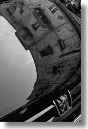 abstracts, black and white, buildings, cars, europe, italy, puglia, reflecting, taranto, vertical, windows, photograph
