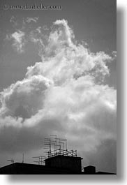 abstracts, antennas, black and white, clouds, europe, italy, puglia, taranto, vertical, photograph