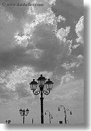 abstracts, black and white, clouds, europe, italy, puglia, street lamps, taranto, vertical, photograph