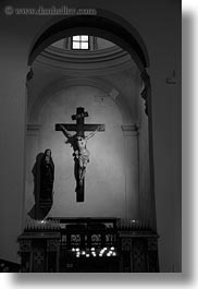 arches, black and white, crosses, europe, italy, madonna, puglia, taranto, vertical, photograph