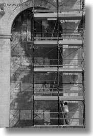 black and white, buildings, churches, europe, italy, men, puglia, scaffolding, trani, vertical, photograph