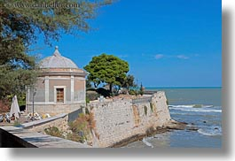 buildings, europe, horizontal, italy, puglia, rotunda, seawall, trani, photograph