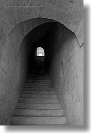 archways, black and white, buildings, europe, italy, puglia, stairs, trani, under, vertical, photograph
