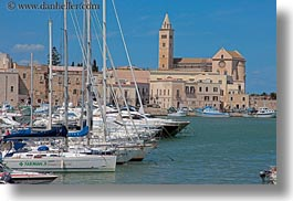 bell towers, boats, churches, europe, harbor, horizontal, italy, puglia, trani, photograph