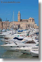 bell towers, boats, churches, europe, harbor, italy, puglia, trani, vertical, photograph