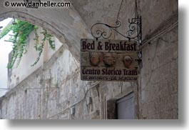 bed and breakfast, europe, horizontal, italy, puglia, signs, trani, photograph