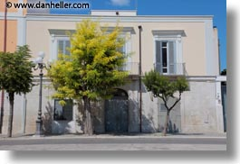buildings, europe, green, horizontal, italy, puglia, trani, trees, white, photograph