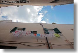europe, hangings, horizontal, italy, laundry, perspective, puglia, trani, upview, photograph