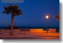 benches, dusk, europe, horizontal, italy, palms, puglia, seawall, sunsets, trani, trees, photograph