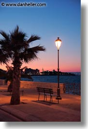 benches, dusk, europe, italy, palms, puglia, seawall, sunsets, trani, trees, vertical, photograph