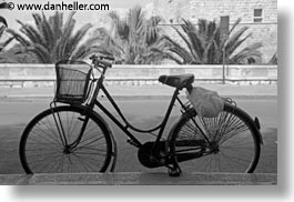 bicycles, black and white, europe, horizontal, italy, parked, puglia, trani, photograph