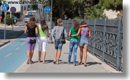 europe, girls, horizontal, italy, people, puglia, trani, walking, photograph