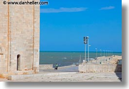 bicycles, europe, horizontal, italy, long, men, people, piers, puglia, trani, walking, photograph