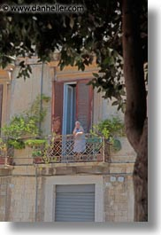 balconies, europe, italy, old, people, puglia, trani, vertical, womens, photograph