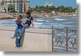 couples, europe, horizontal, italy, people, puglia, seaside, teenage, trani, walls, photograph
