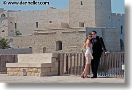 couples, europe, horizontal, italy, people, puglia, seaside, trani, walls, wedding, photograph