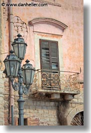 europe, italy, lamp posts, puglia, trani, vertical, windows, photograph