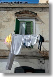 balconies, europe, from, hangings, italy, laundry, puglia, trani, vertical, windows, photograph