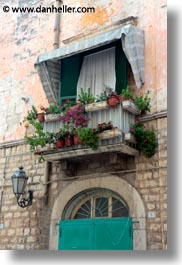 balconies, europe, italy, plants, puglia, trani, vertical, windows, photograph