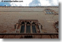 europe, gothic, horizontal, italy, perspective, puglia, trani, upview, windows, photograph