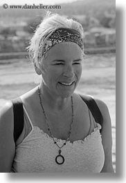bandana, black and white, clothes, emotions, europe, evie, evie sheppard, grey, hair, italy, people, puglia, smiles, tourists, vertical, womens, photograph