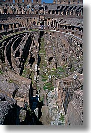 architectural ruins, buildings, colosseum, downview, europe, interiors, italy, landmarks, perspective, rome, structures, vertical, photograph