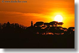 europe, horizontal, italy, nature, rome, silhouettes, sky, sun, sunsets, trees, photograph