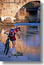 bicycles, boys, europe, fishing, italy, people, rivers, rome, vertical, photograph
