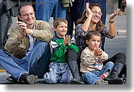 clapping, emotions, europe, families, happy, horizontal, italy, people, rome, smiles, photograph