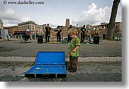 boys, childrens, coin, europe, horizontal, italy, jacks, people, rome, suitcase, toddlers, photograph
