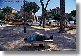 benches, europe, horizontal, italy, lying, men, people, rome, senior citizen, stones, photograph