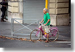 bicycles, europe, horizontal, italy, men, people, pink, rome, photograph