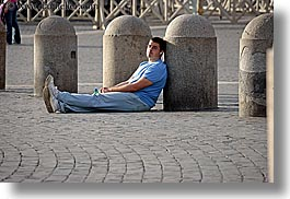 cobblestones, europe, horizontal, italy, men, people, rome, sitting, photograph