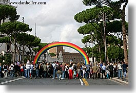 europe, horizontal, italy, parade, people, rainbow, rome, photograph