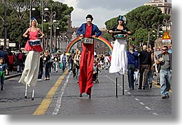 europe, horizontal, italy, parade, people, rainbow, rome, stilts, walkers, photograph